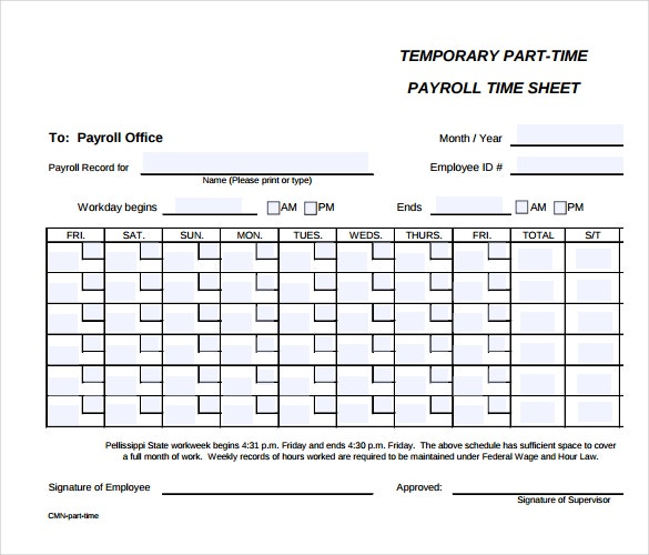 High Quality Parttime Payroll Timesheet Template In PDF Format