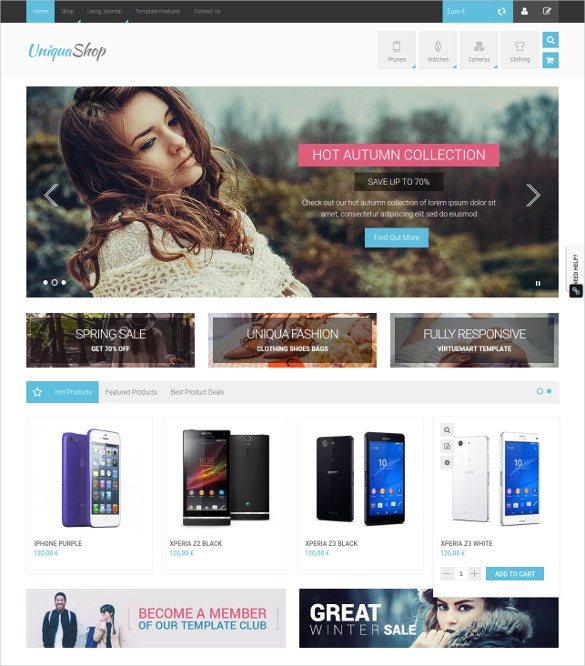 uniqua shop virtuemart joomla template