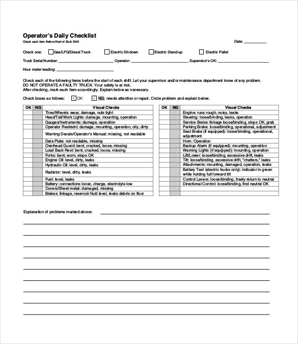Daily checklist template 26 free word excel pdf for Data center checklist template