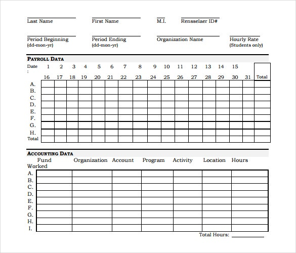 hourly payroll timesheet template free download in pdf