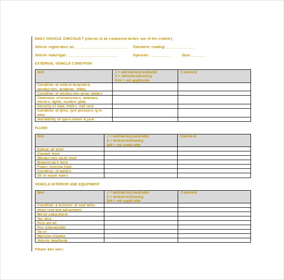 doc format of daily vehicle checklist template download