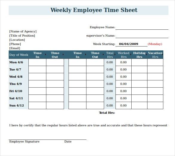 weekly payroll timesheet template excel free download