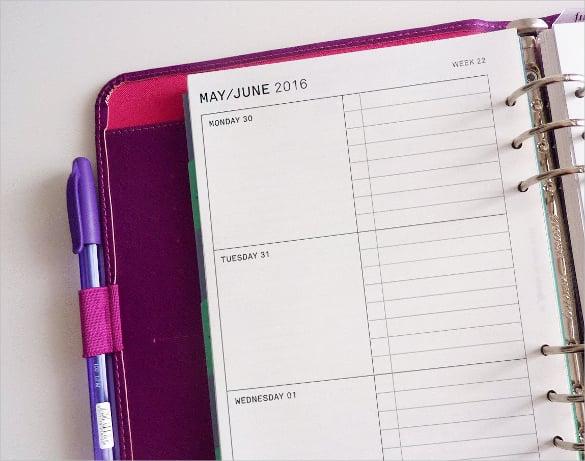 daily checklists calendar template