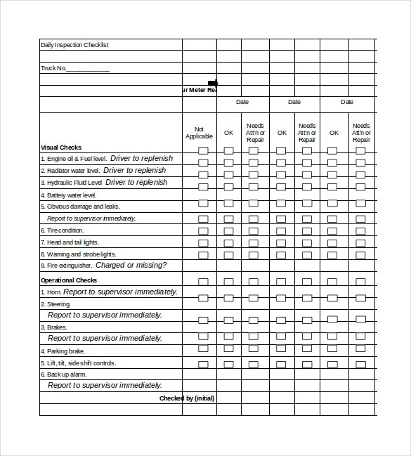 daily inspection checklist excel format template download