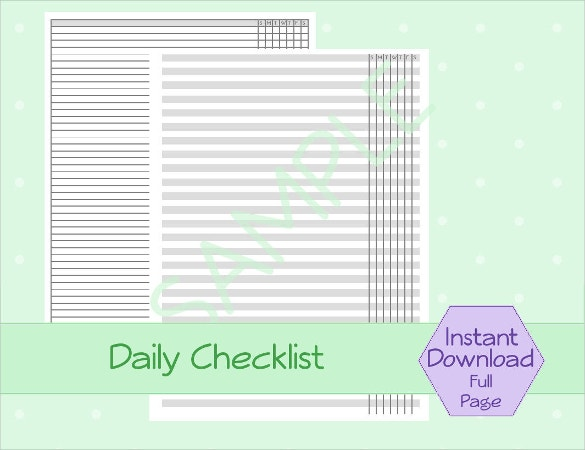 Daily Checklist Template 18 Free Word Excel PDF Documents – Daily Checklist Template Word