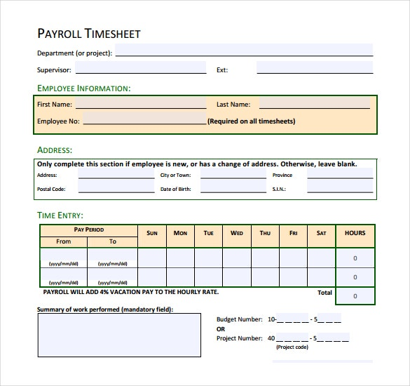 blank payroll timesheet template download in pdf