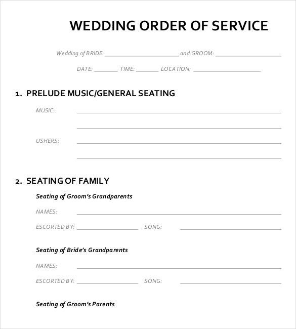wedding order service template pdf