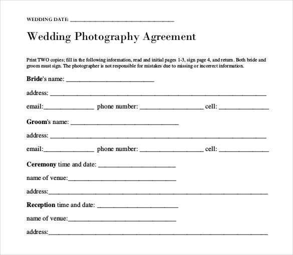 wedding photography agreement template download in pdf