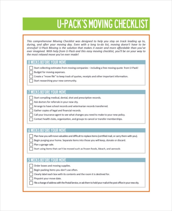 Moving Checklist Template   Word Excel Pdf Documents Download