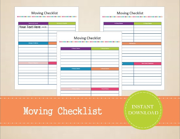 Moving Checklist Template U2013 15+ Word, Excel, Pdf Documents