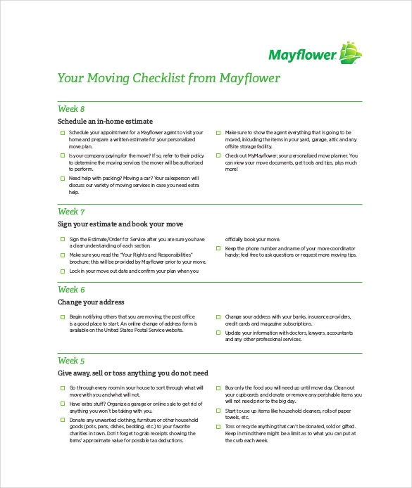 may flower moving checklist free pdf format template download