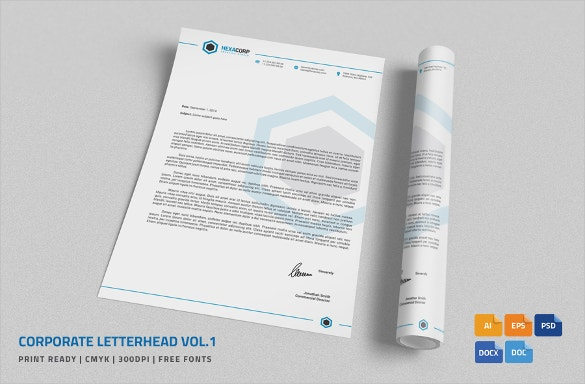 Beautiful Corporate Letterhead In MS Word Format Within Corporate Word Templates