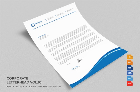Stylish Design Letterhead MS Word Template. Download  Free Download Word Template