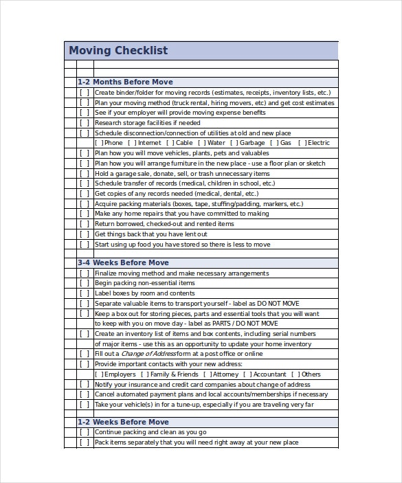moving checklist excel format template download