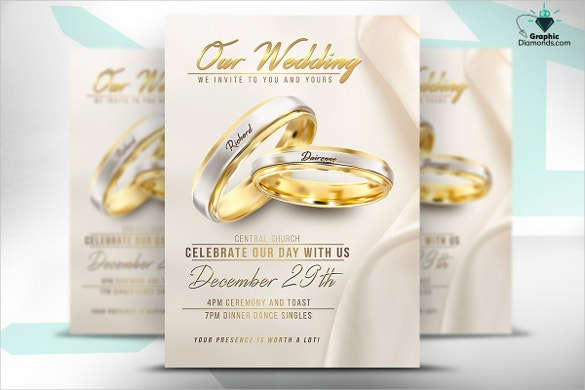 beautiful wedding flyer psd template download