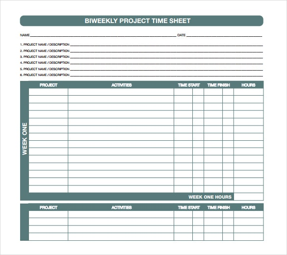 11 Project Timesheet Templates Free Sample Example Format – Time Sheet Format