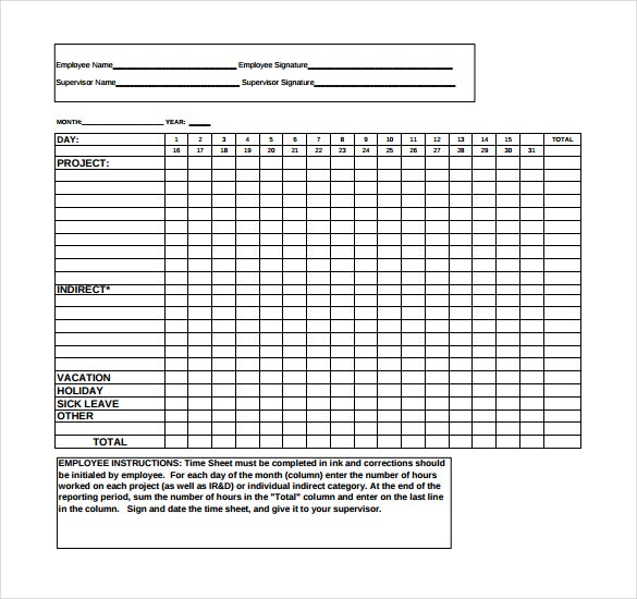 11 Project Timesheet Templates Free Sample Example Format – Sample Daily Timesheet