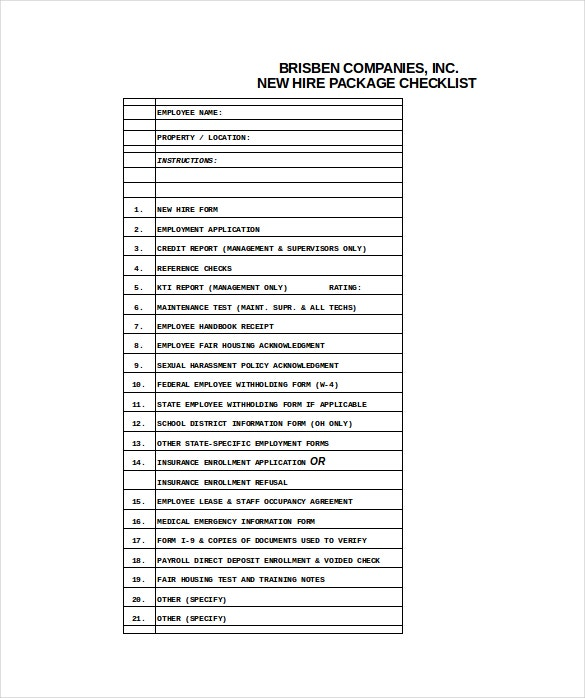 new hire checklist excel format download
