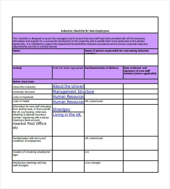 induction checklist for new hire excel format download