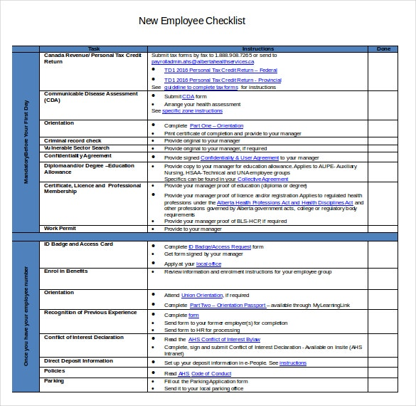 doc format of new hire employee checklist template download
