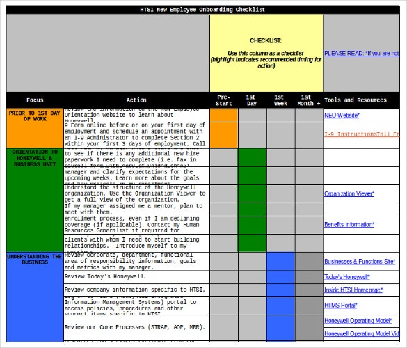new employee onboarding checklist excel format download