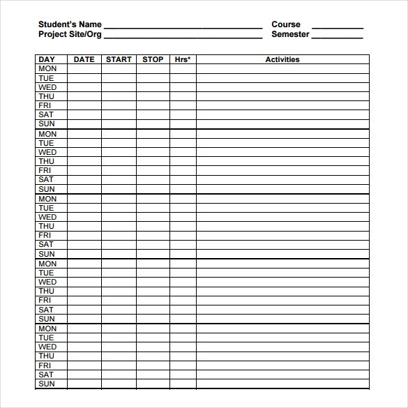 Project Timesheet Templates  Free Sample Example Format
