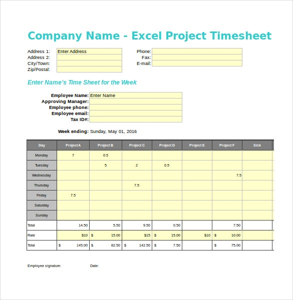 project timesheet Company name - excel project timesheet address 1: address 2: city/town: zip/postal: enter address phone: fax: e-mail: enter name's time sheet for the week employee.