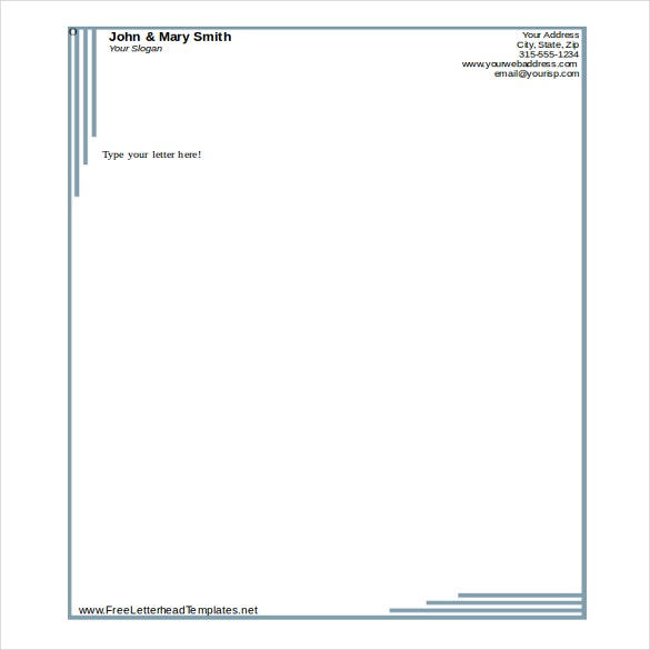 MS Word 2010 Format Formal Business Letterhead Template  Free Business Stationery Templates For Word