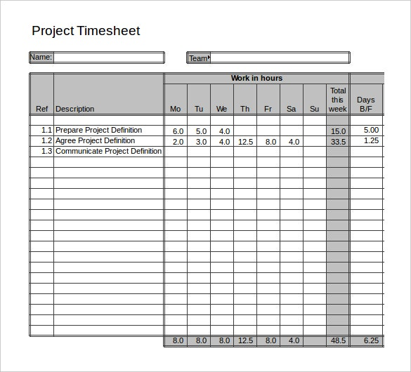11+ Project Timesheet Templates – Free Sample, Example Format