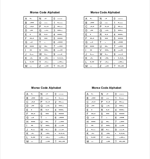 Morse Code Chart Word 2010 Format Free Download