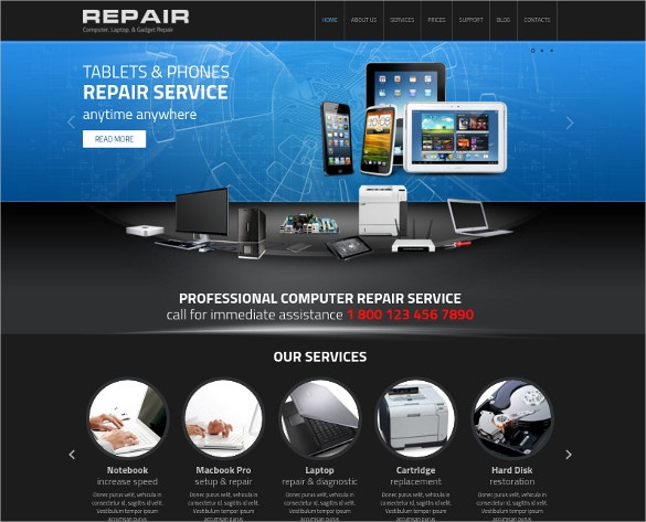 25 computer repair website themes templates free for Designer flash sale sites