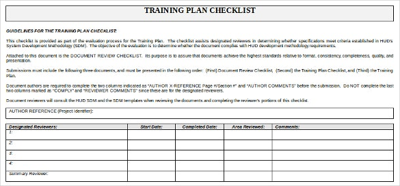 training plan checklist doc format template download