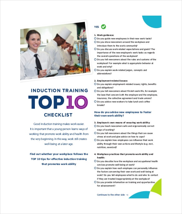 induction training checklist free pdf format template download