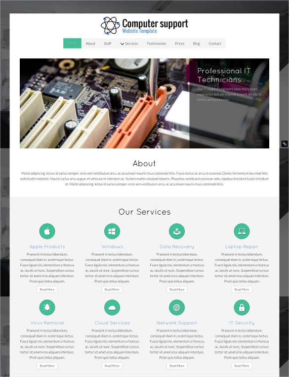 computer repair support website template