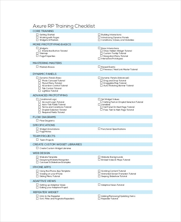 Training Checklist Template   Free Word Excel Pdf Documents