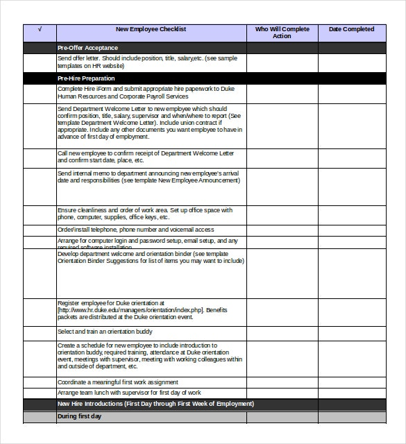 Onboarding checklist template 15 free word excel pdf for Induction procedure template