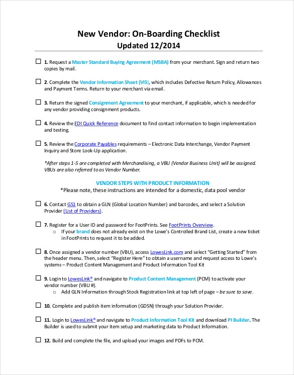 New Vendor Onboarding Checklist PDF Format Template Download