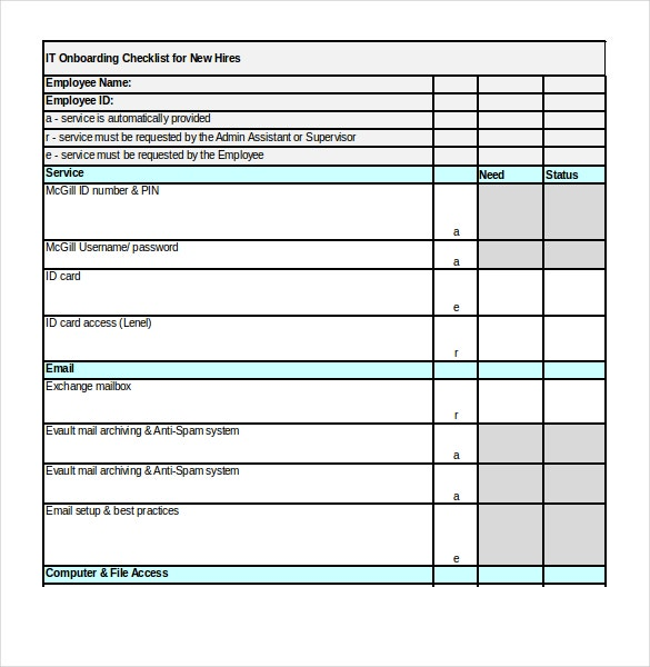 it services onboarding checklist excel format template download