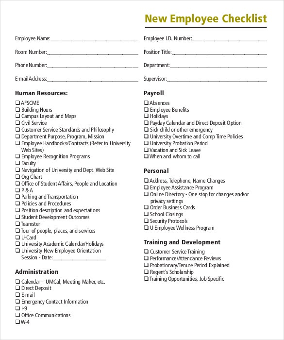 download onboarding checklist pdf format template