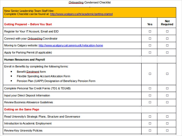 onboarding checklist doc format template download