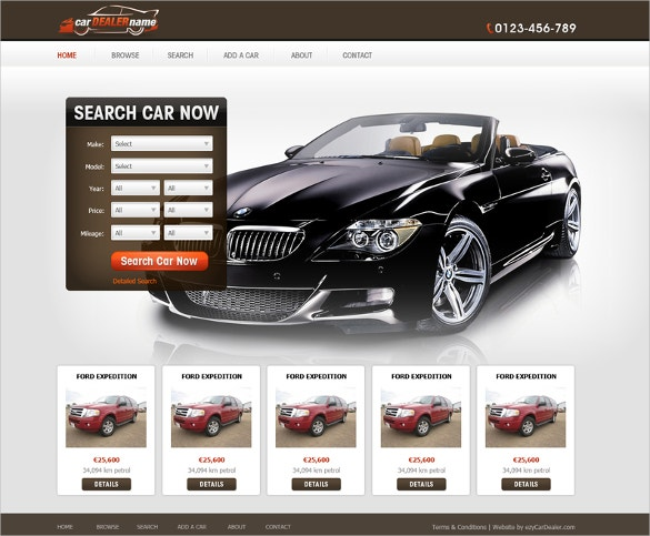 car dealer classified website template