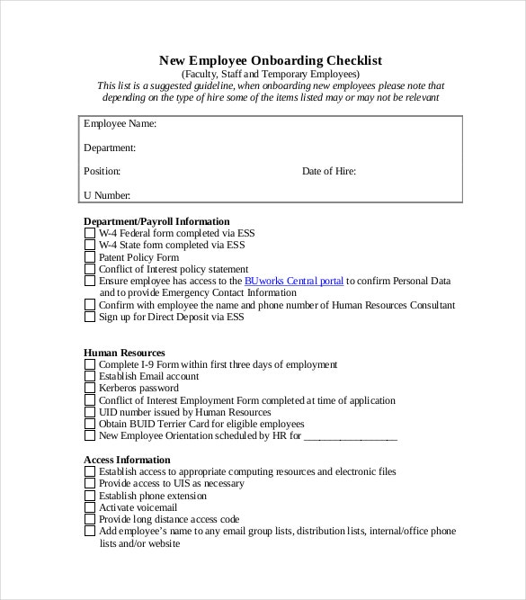 Onboarding Checklist Template 10 Free Word Excel PDF – Personal Data Form Template Download Free