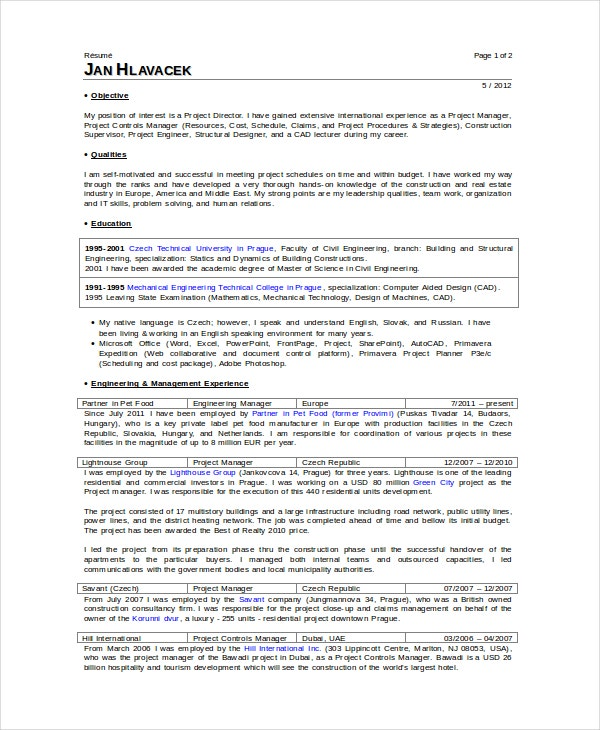 superintendent resume template 7 free word pdf