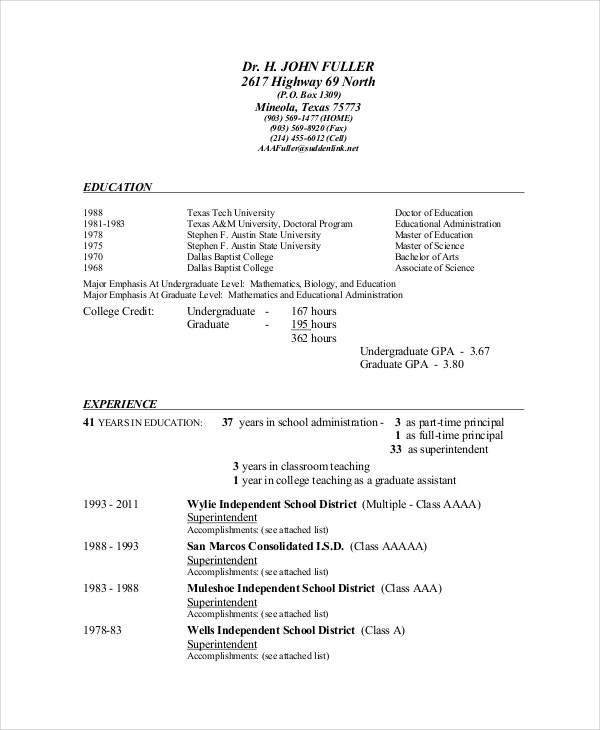 9  superintendent resume templates