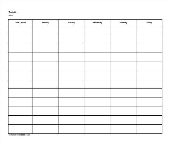 11 Microsoft Word 2010 Format Timetable Templates Free Download – Microsoft Timetable Template