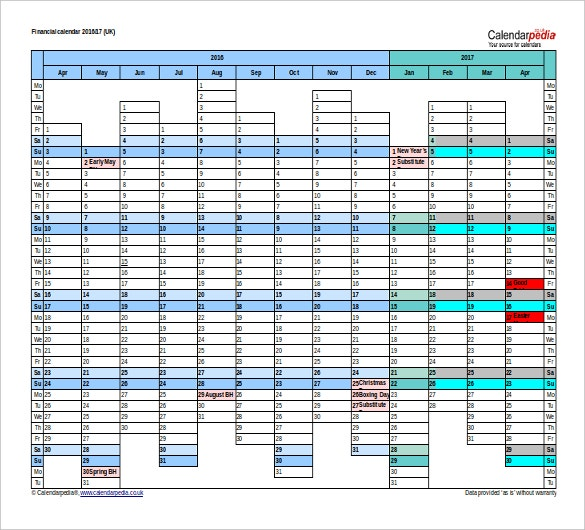 2016 to 2017 financial calendar timetable free word template