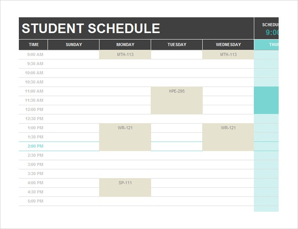 student schedule template free download ms word