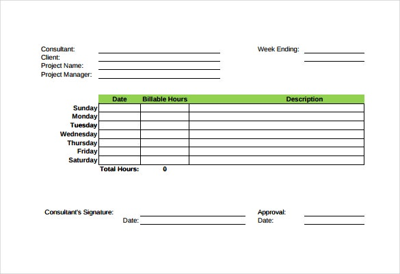 Consultant Time Tracking Template In Pdf