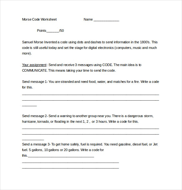 morse code worksheet document download