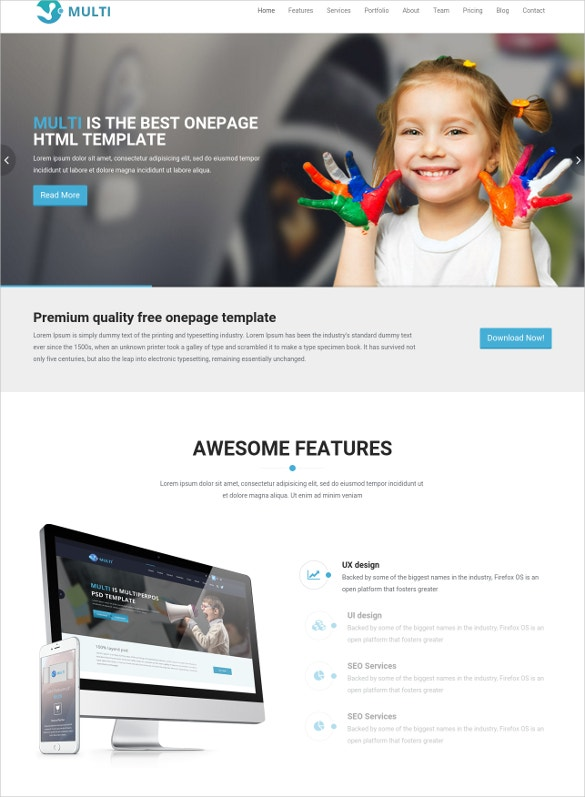 free responsive onepage html template